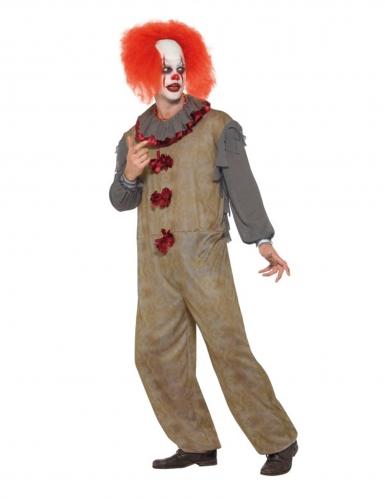 Vintage grijs horror clown kostuum voor mannen-2