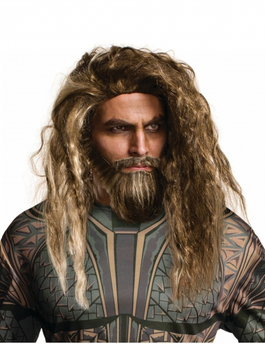 Aquaman™ pruik en baard voor volwassenen