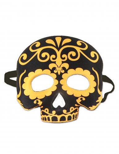 Zwart en geel doodskop half masker