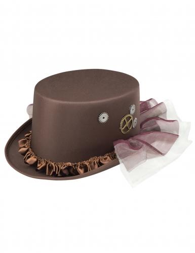 Steampunk hoge hoed met sluier voor volwassenen-1