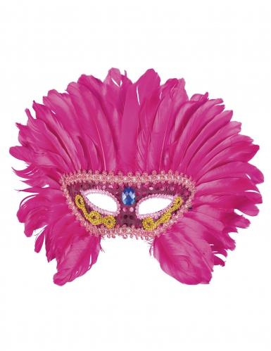 Venetiaans masker met roze veren voor vrouwen-1