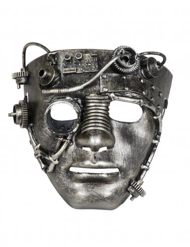 Chroomkleurig Steampunk masker voor volwassenen-1