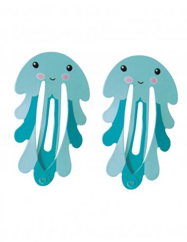 2 blauwe octopus haarspelden