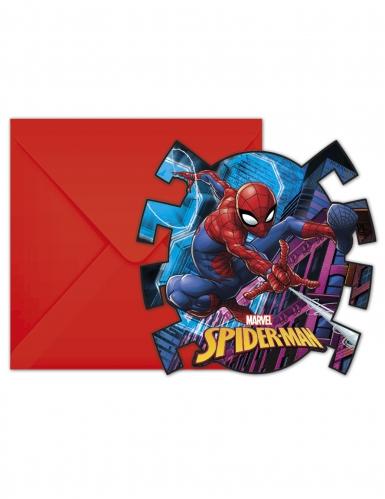 6 Spiderman™ uitnodigingen en enveloppen
