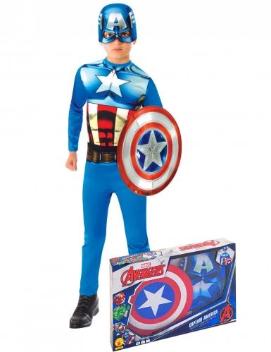 Klassieke Captain America outfit met schild voor jongens