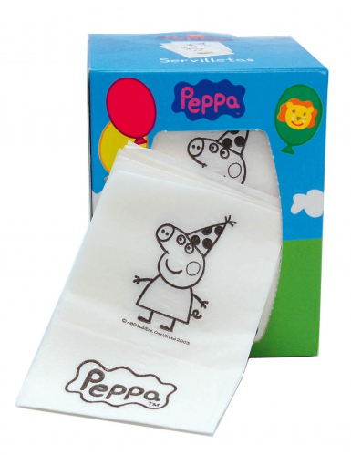 Kartonnen Peppa Pig™ servethouder met servetten