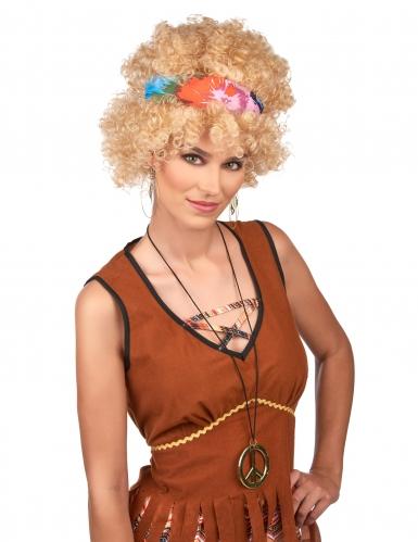 Blonde afro hippie pruik voor volwassenen-1