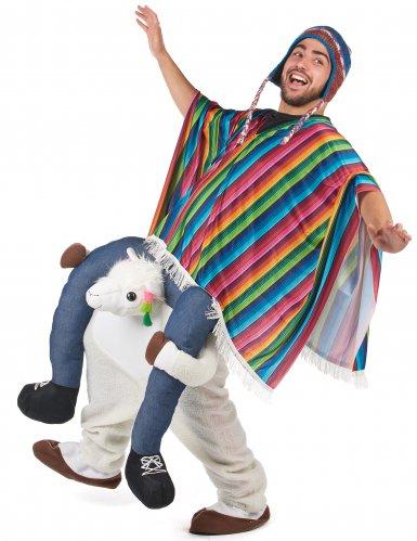 Man op rug van lama kostuum-1