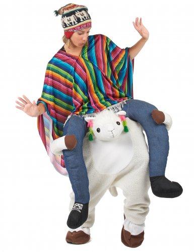 Man op rug van lama kostuum-2