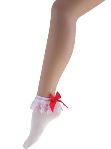 Korte witte sokken met rode strik voor vrouwen