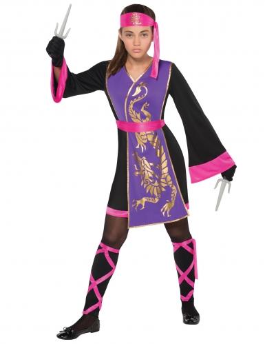 Paars en roze ninja kostuum voor meisjes