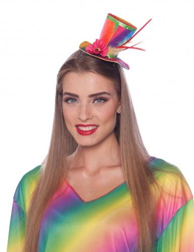 Gekleurde mini clown hoed voor volwassenen