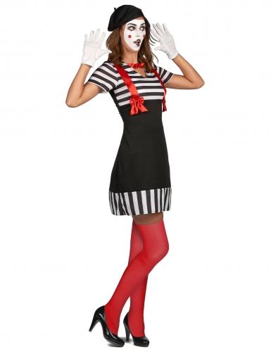 Zwart met wit gestreept mime kostuum voor dames-1