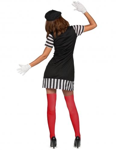 Zwart met wit gestreept mime kostuum voor dames-2
