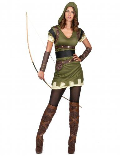 Groen met bruin boogschutter kostuum voor dames