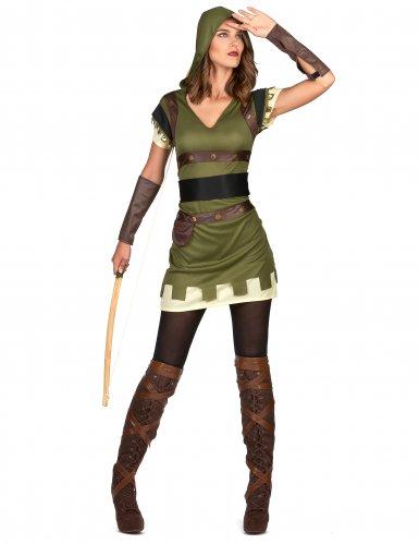 Groen met bruin boogschutter kostuum voor dames-1