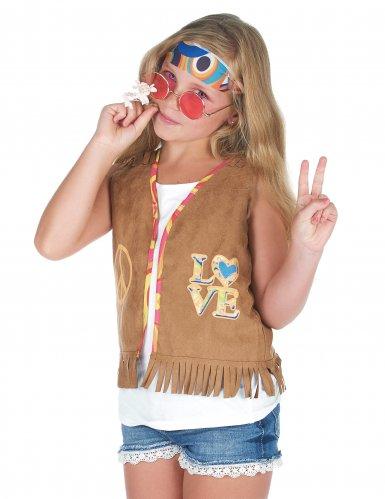Bruin jaren 60 hippie gilet voor kinderen