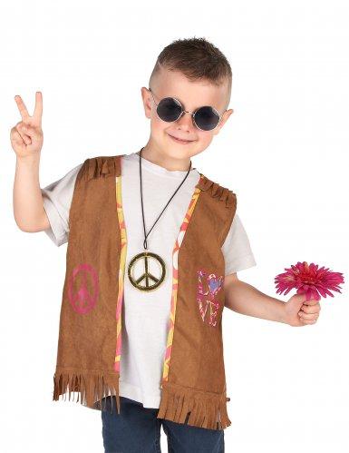 Bruin jaren 60 hippie gilet voor kinderen-1