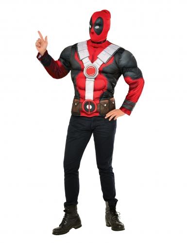 Deadpool™ t-shirt met spieren en muts voor volwassenen
