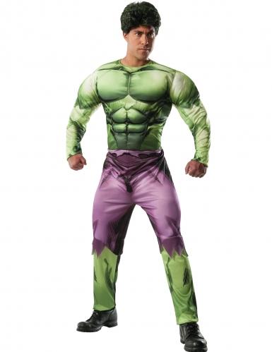 Deluxe groen en paars gespierd Hulk™ kostuum voor volwassenen