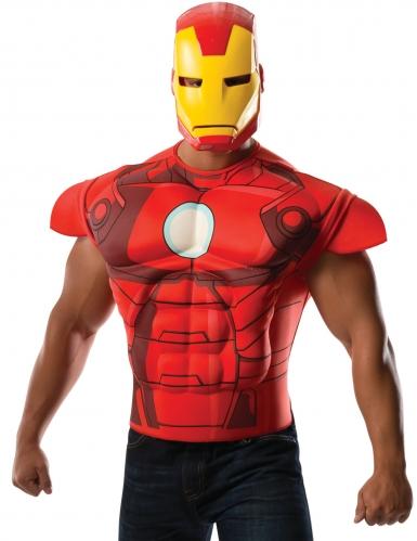 Iron Man™ gespierde borst met masker voor volwassenen