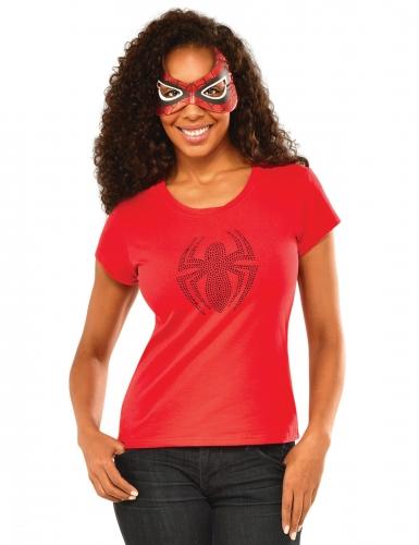 Spidergirl™ strass t-shirt en masker voor vrouwen