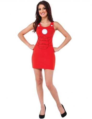 Rode Iron Man™ jurk kostuum voor vrouwen