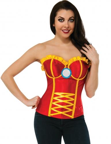 Rood en geel Iron Man™ korset voor dames