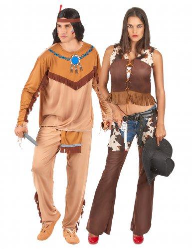 Indiaan en cowgirl koppelkostuum voor volwassenen