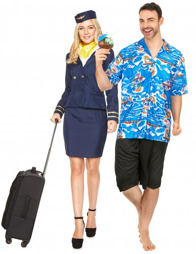 Stewardess en toerist koppelkostuum voor volwassenen