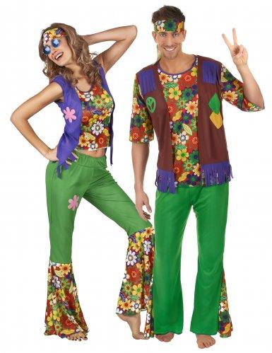 Hippie flower power koppelkostuum voor volwassenen