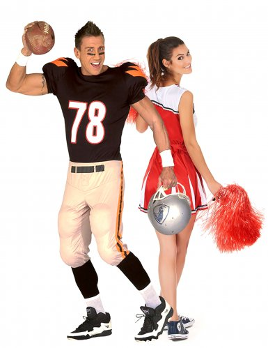 Cheerleader en football speler koppelkostuum voor volwassenen