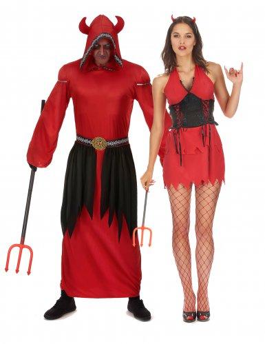 Rood duivel koppelkostuum voor volwassenen