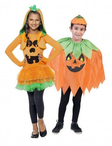 Groen en oranje pompoen koppelkostuum voor kinderen