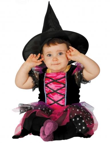 Schattig roze en zwart heksenkostuum voor baby's