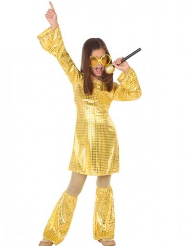 Goudkleurige lovertjes disco kostuum voor meisjes