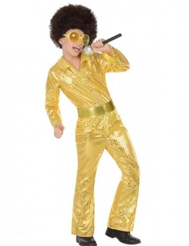 Goudkleurige lovertjes disco outfit voor jongens
