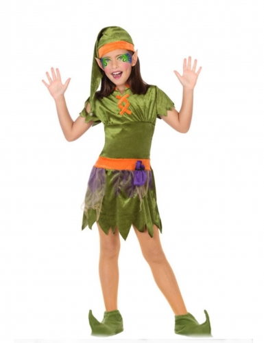Groen en oranje bos elfen pak voor meisjes