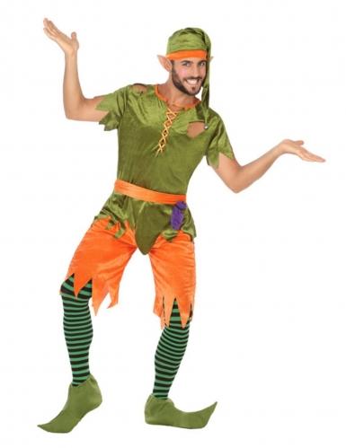 Gekleurd boskabouter kostuum voor mannen