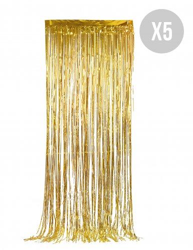 Pack 5 goudkleurige deurgordijnen