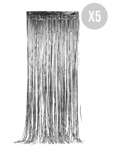 Pack 5 zilverkleurige deurgordijnen