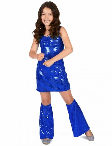 Donkerblauw lovertjes disco kostuum voor meisjes-1