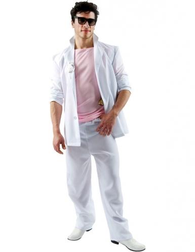 Roze en wit Miami detective kostuum voor volwassenen