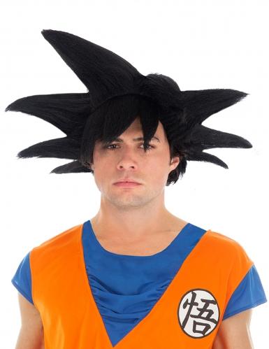 Zwarte Goku Saiyan Dragon Ball Z™ pruik voor volwassenen