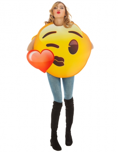 Emoji™ hart kusje kostuum voor volwassenen