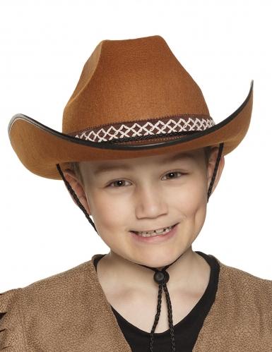 Bruine cowboyhoed met koord voor kinderen