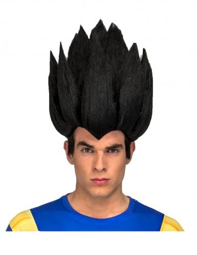 Zwarte Vegeta Dragon Ball™ pruik voor volwassenen