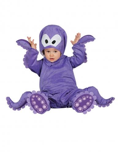 Paarse octopus pak met capuchon voor baby's