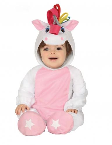 Witte eenhoorn pak met capuchon voor baby's