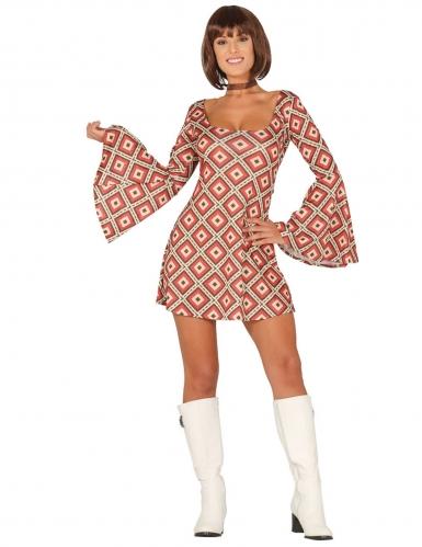Psychedelisch ruiten disco kostuum voor vrouwen
